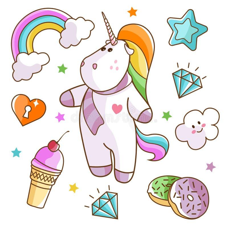 Ensemble mignon de licornes et d'arcs-en-ciel illustration stock