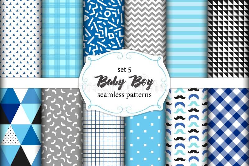 Ensemble mignon de modèles sans couture de bébé garçon scandinave avec des textures de tissu illustration stock
