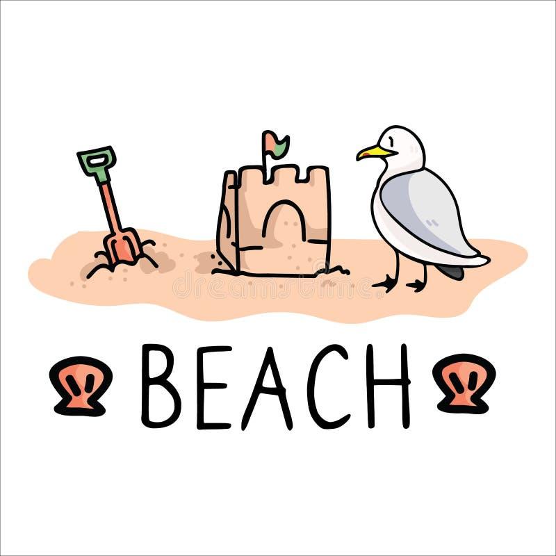 Ensemble mignon de motif d'illustration de vecteur de bande dessinée de typographie de vacances de bord de la mer Éléments d'isol illustration de vecteur