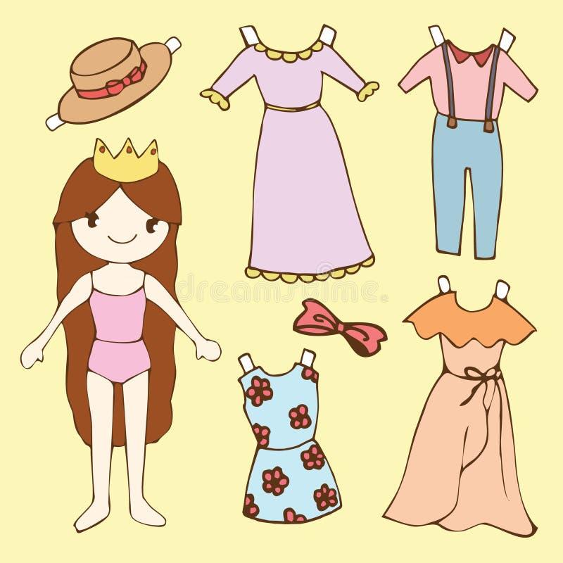 Ensemble mignon de poupée de papier de fille illustration stock