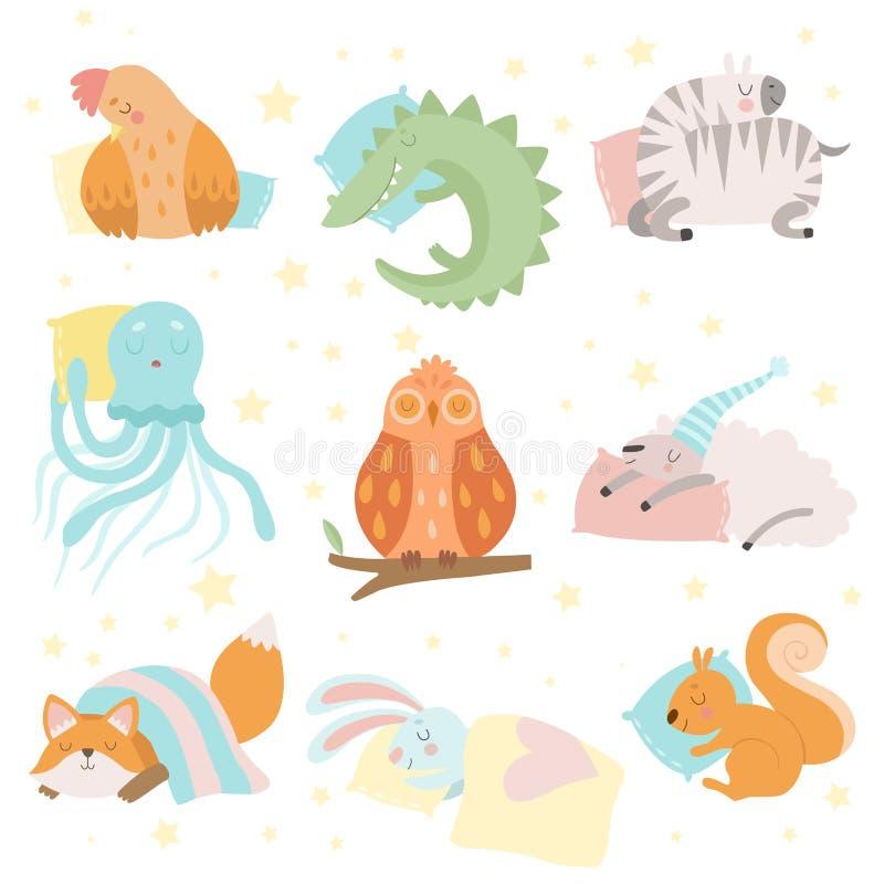 Ensemble mignon de sommeil d'animaux, poule, zèbre, crocodile, poulpe, mouton, écureuil, Fox, lapin, hibou avec le vecteur d'orei illustration stock