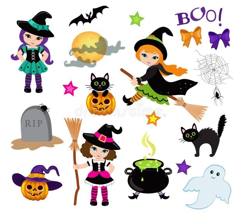 Ensemble mignon de sorcières de Halloween et d'éléments de conception illustration de vecteur