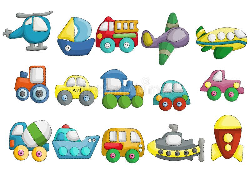 Ensemble mignon de vecteur de conception de bande dessinée de véhicules illustration de vecteur