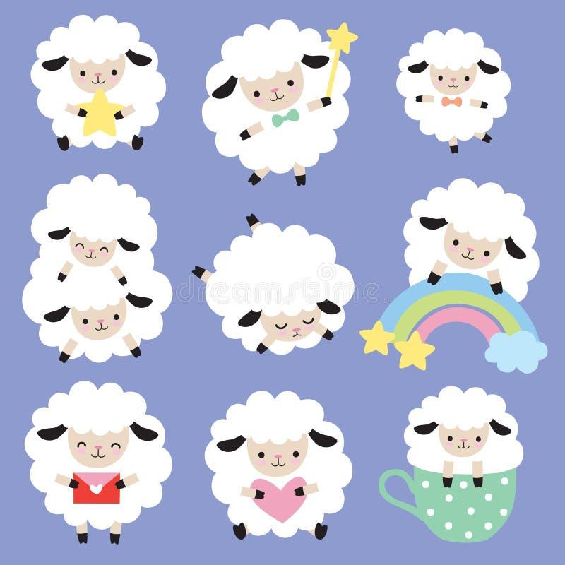 Ensemble mignon de vecteur de moutons blancs illustration de vecteur