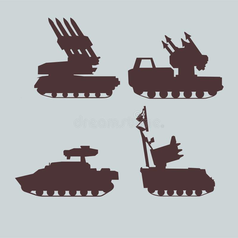 Ensemble militaire d'équipement de systèmes de missiles antiaériens Dessins de vecteur illustration libre de droits