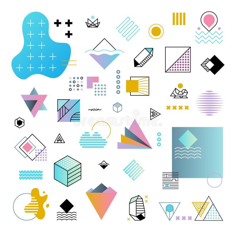 Ensemble minimal géométrique à la mode abstrait de vecteur de formes illustration libre de droits