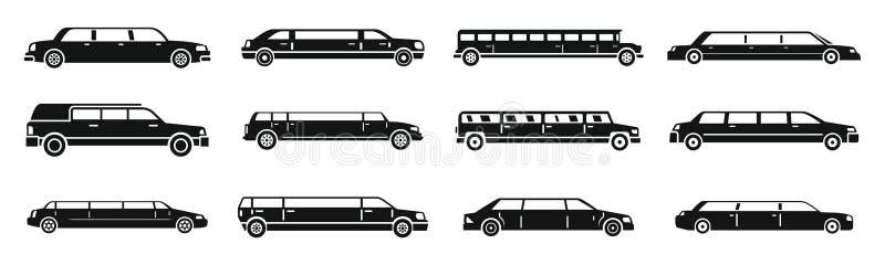Ensemble moderne d'icônes de limousine, style simple illustration stock