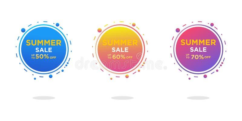 Ensemble moderne de conception de calibre de bannières de vente d'été Vente tropicale de contexte illustration stock