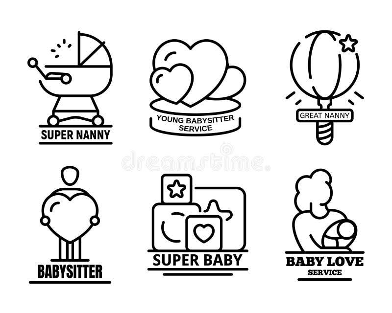 Ensemble moderne de logo de babysitter, style d'ensemble illustration libre de droits