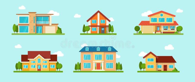 Ensemble moderne de maison de cottage Concept 6 d'immeubles Style plat illustration de vecteur