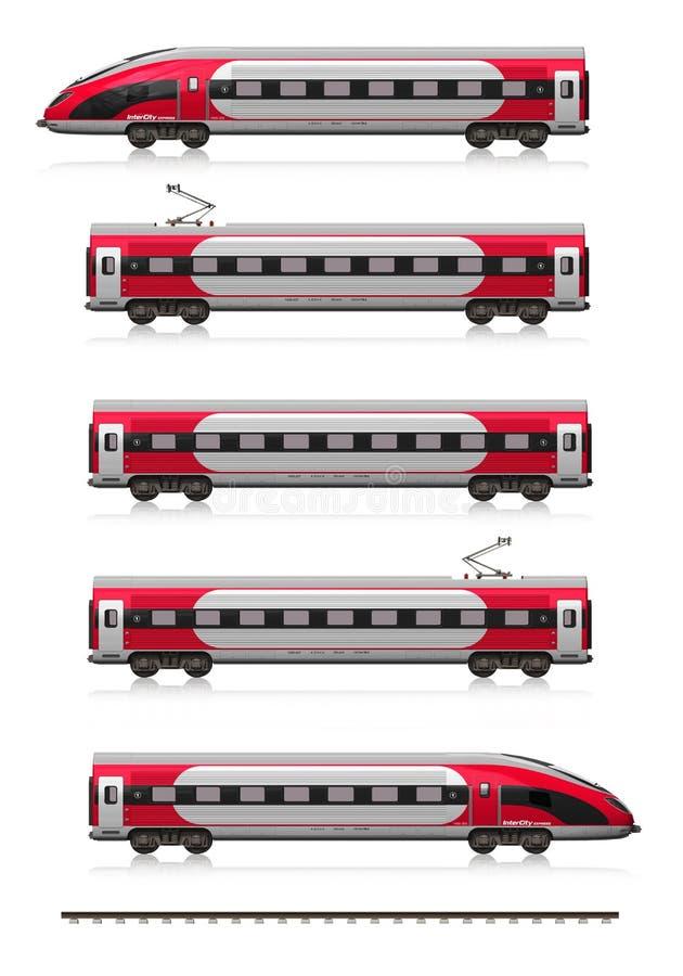 Ensemble moderne de train à grande vitesse illustration libre de droits