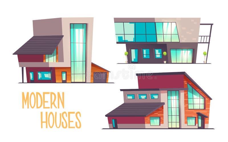 Ensemble moderne de vecteur de bande dessinée de maisons d'architecture illustration stock
