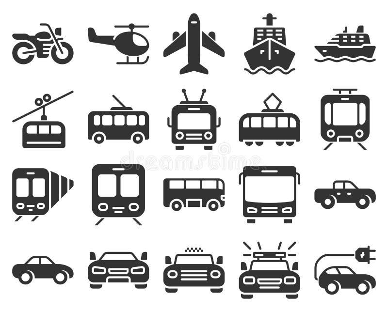 Ensemble monochromatique d'icônes de transport illustration de vecteur