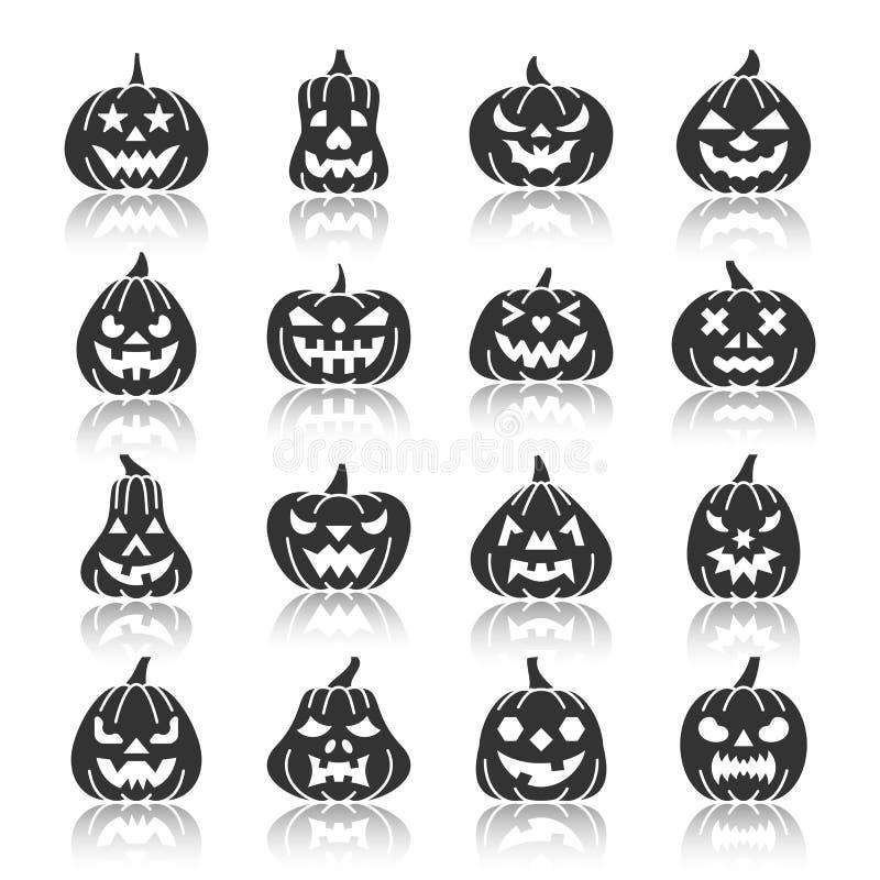 Ensemble monochrome d'icône de silhouette de potiron de Halloween illustration libre de droits