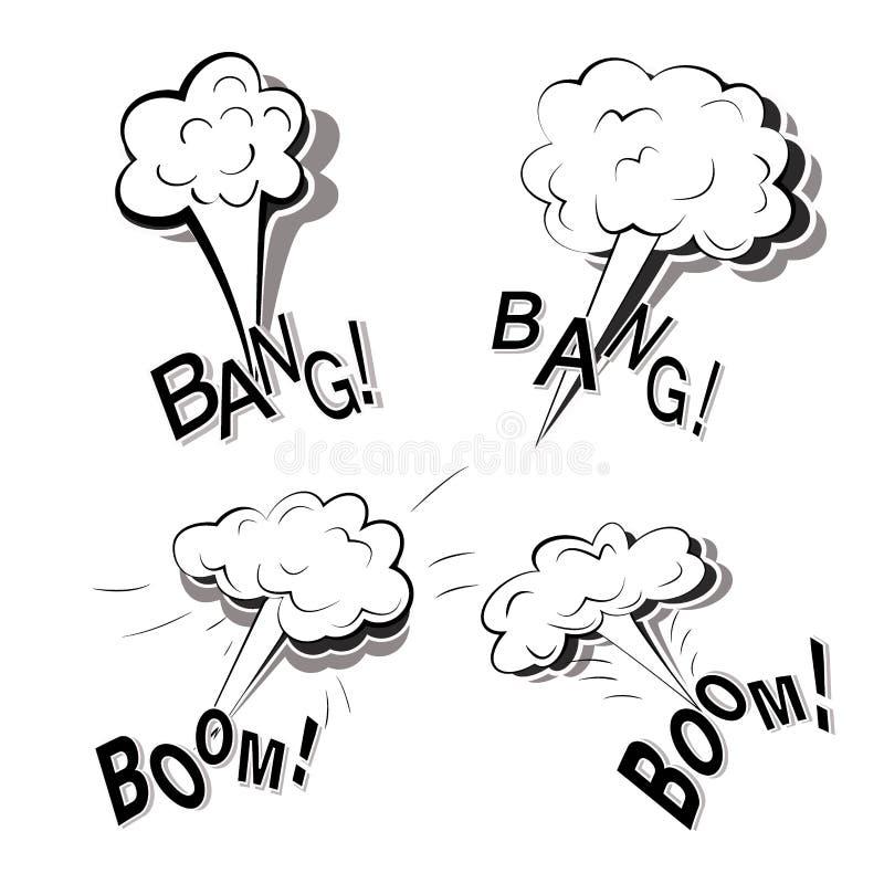 Ensemble monochrome de griffonnages plats de bande dessinée avec quatre grandes explosions puissantes d'isolement sur un fond bla illustration stock