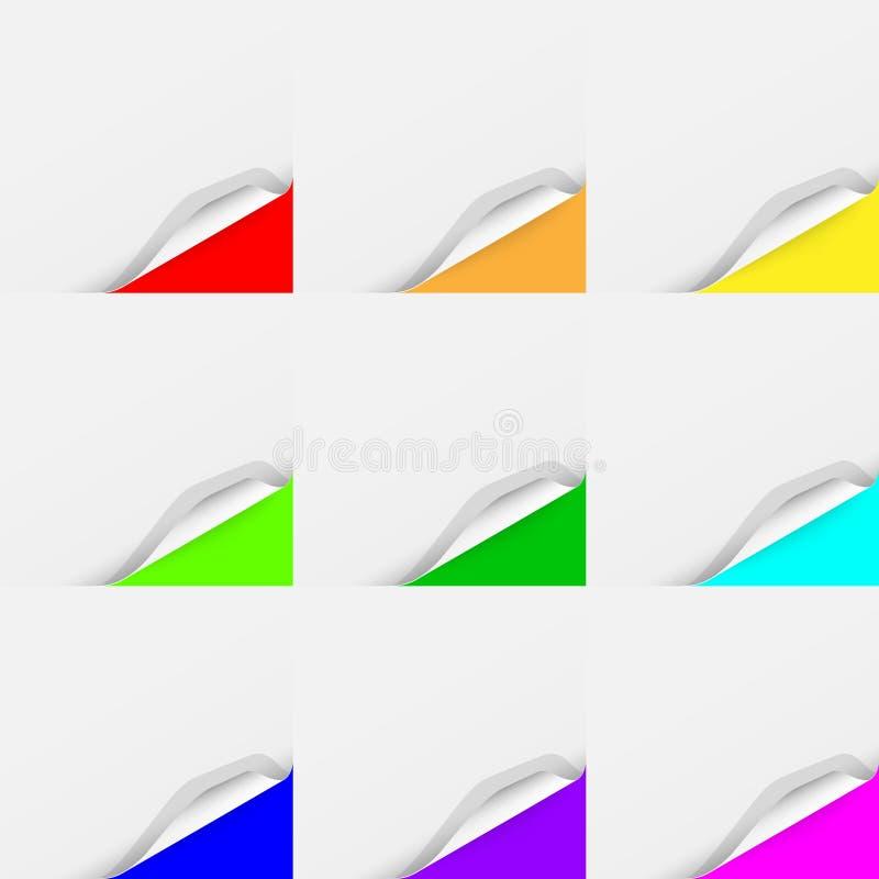 Ensemble multicolore de feuilles de papier courbées illustration stock