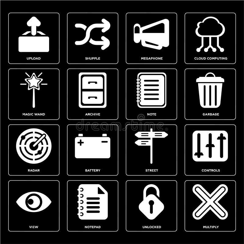Ensemble Multiply, débloqué, vue, rue, radar, note, baguette magique magique illustration stock