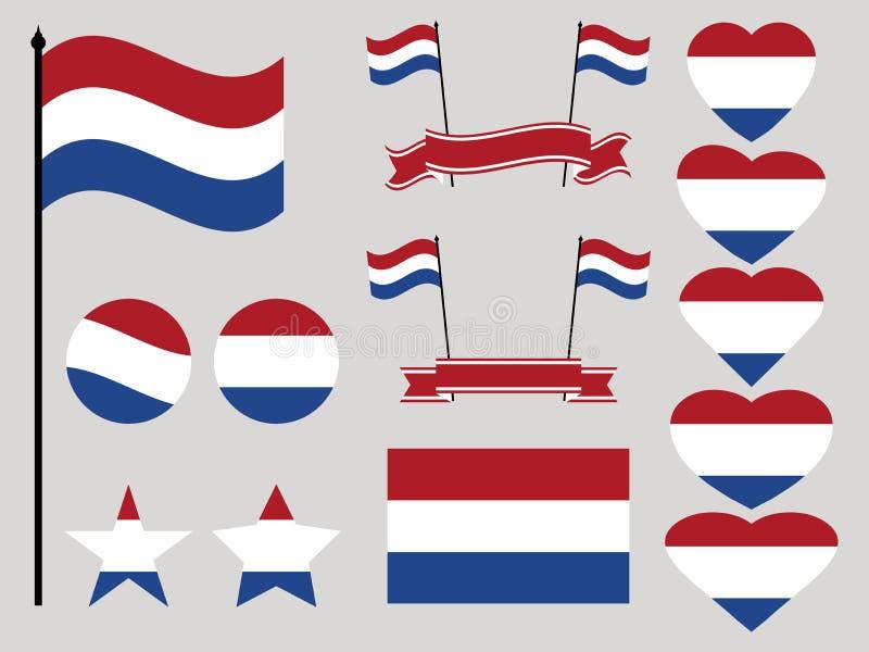 Ensemble néerlandais de drapeau Collection de coeur et de cercle de symboles Vecteur illustration stock