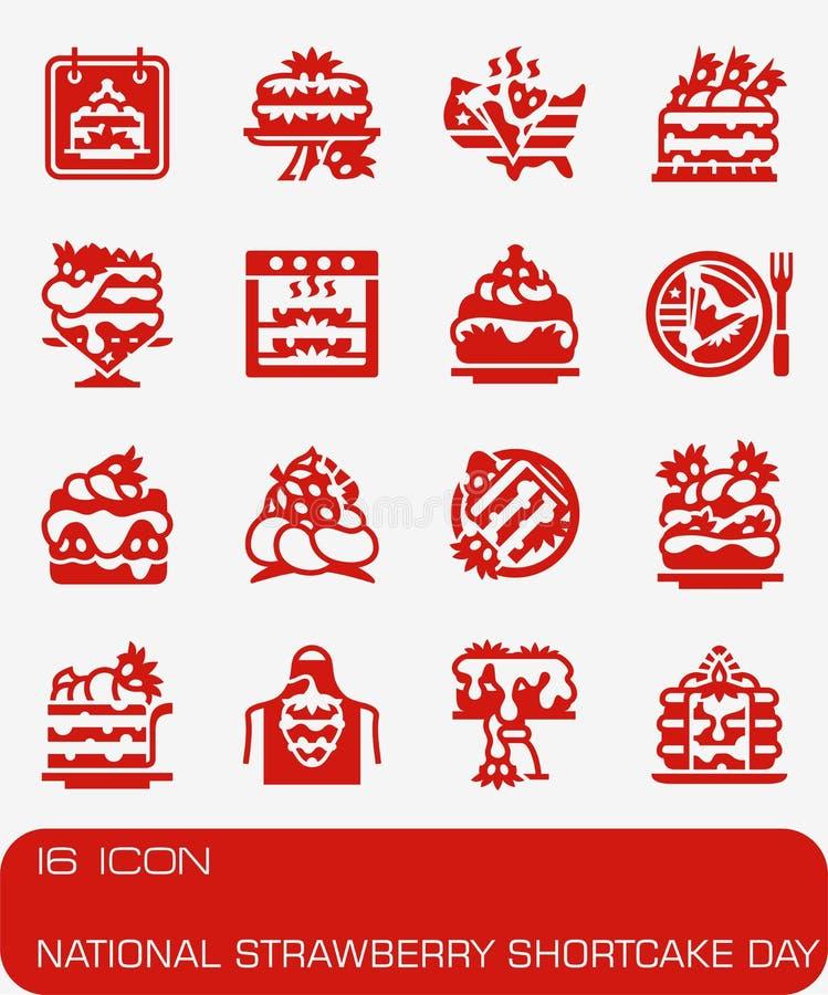 Ensemble national d'icône de jour de tarte sablée de fraise de vecteur photo libre de droits