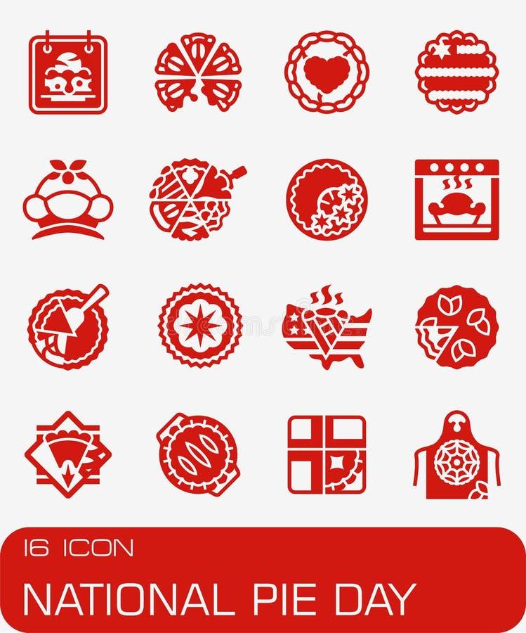 Ensemble national d'icône de jour de tarte de vecteur photographie stock