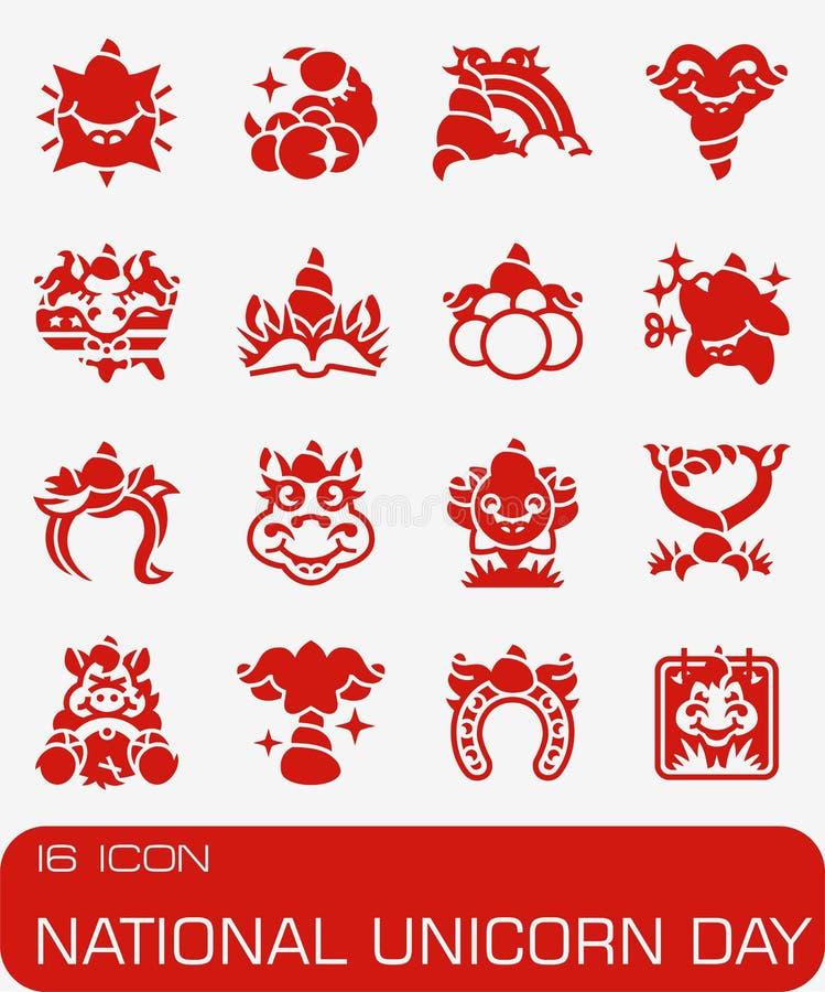 Ensemble national d'icône d'Unicorn Day de vecteur photo stock