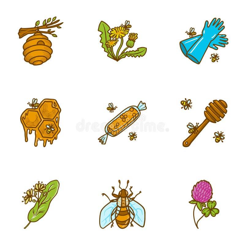Ensemble naturel d'icône de miel, style tiré par la main illustration de vecteur