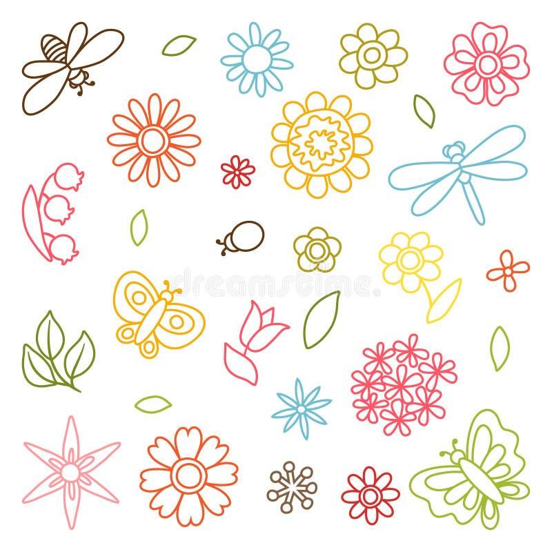 Ensemble naturel de belles fleurs, scarabées et illustration stock