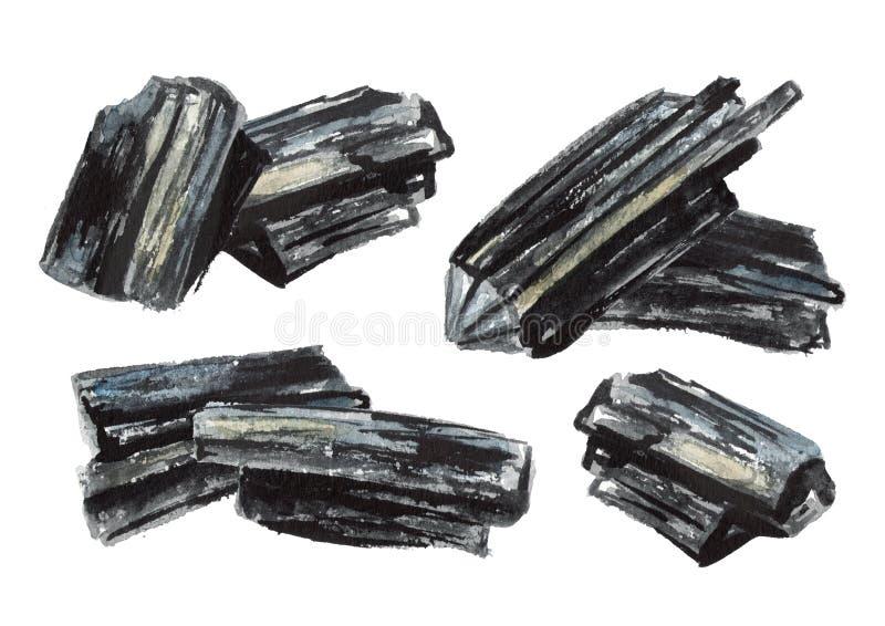 Ensemble naturel de charbon de bois Illustration tirée par la main d'aquarelle d'isolement sur le fond blanc illustration stock