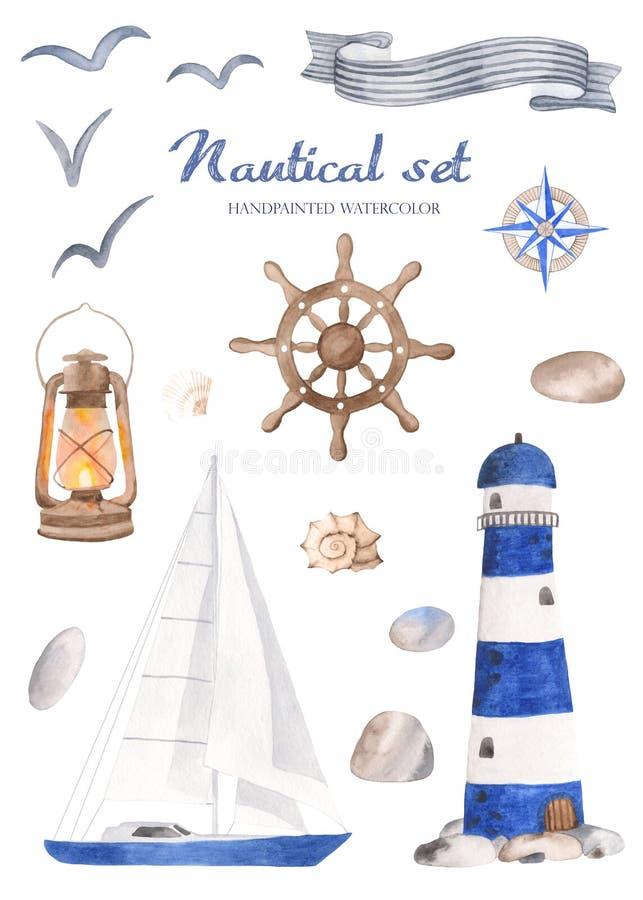 Ensemble nautique d'aquarelle sur un fond blanc illustration libre de droits