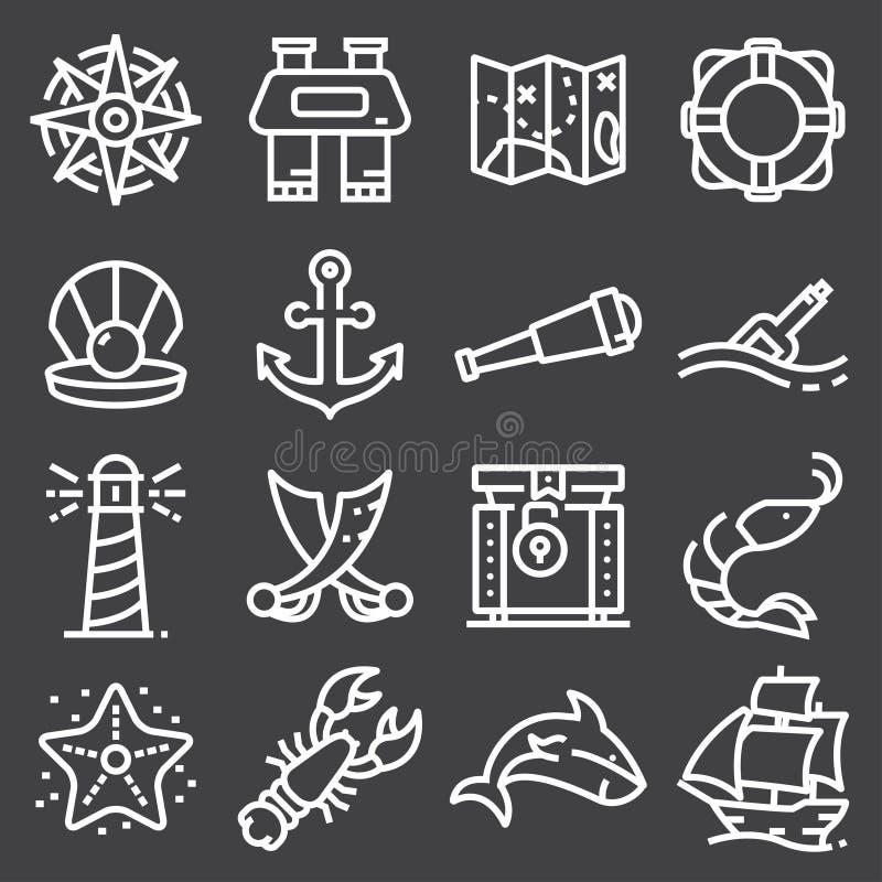 Ensemble nautique d'icône d'illustration de vecteur illustration de vecteur
