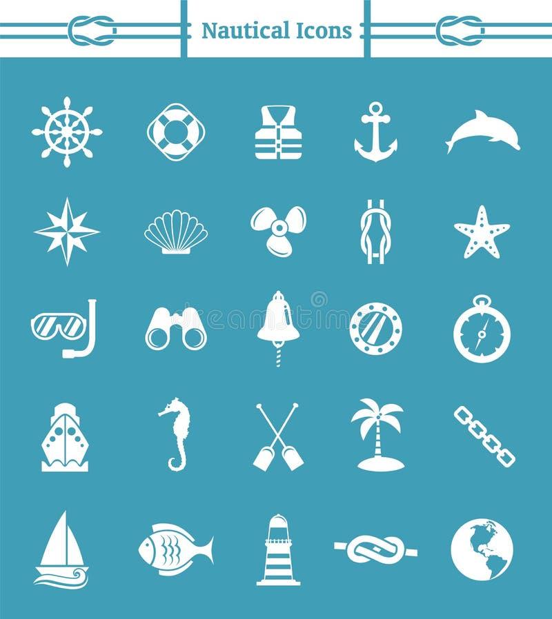 Ensemble nautique d'icône illustration stock