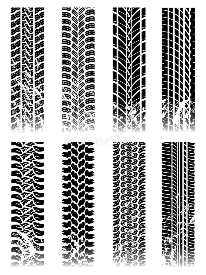 Ensemble neuf de pistes de pneu illustration de vecteur