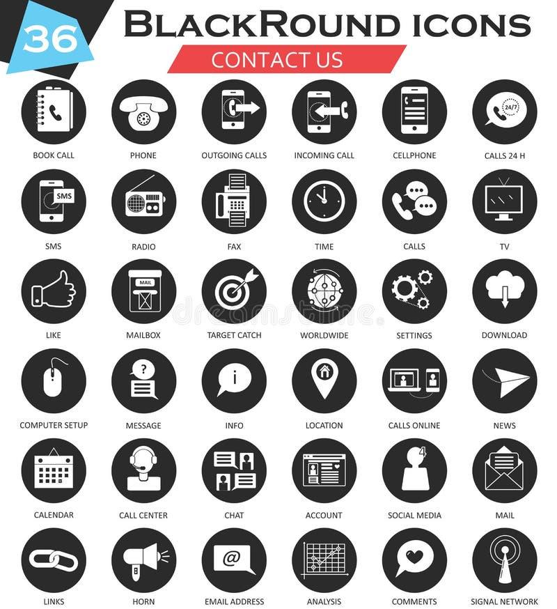 Ensemble noir blanc d'icône de cercle de contactez-nous de vecteur Conception ultra moderne d'icône pour le Web illustration de vecteur