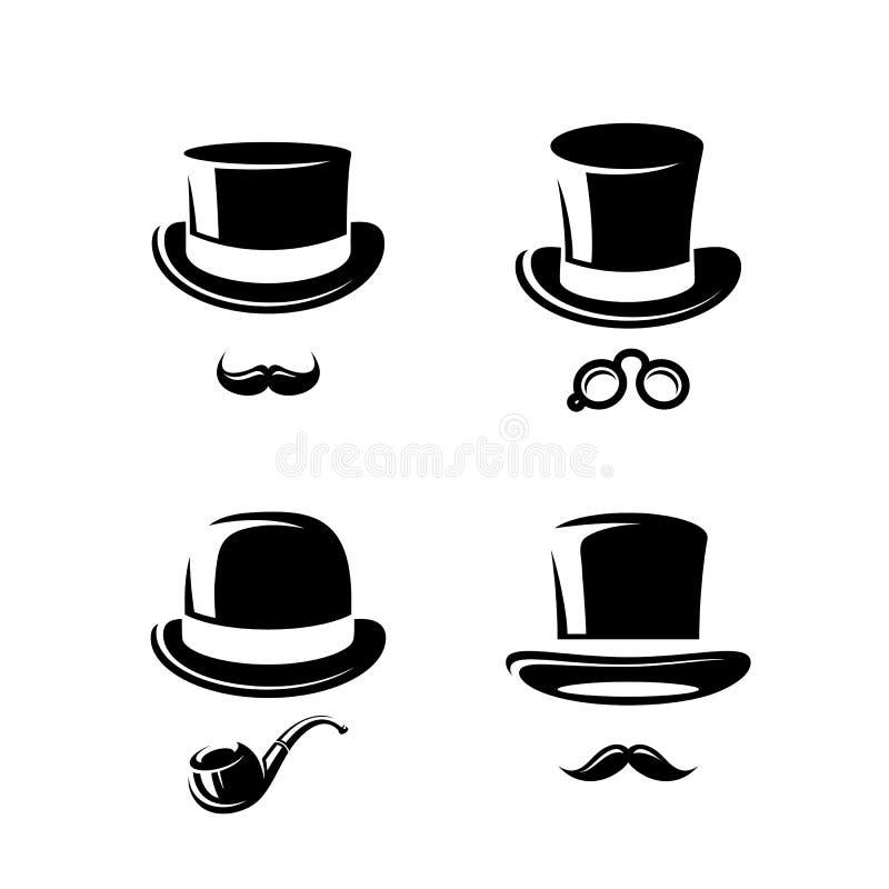 Ensemble noir de chapeau supérieur Vecteur illustration libre de droits