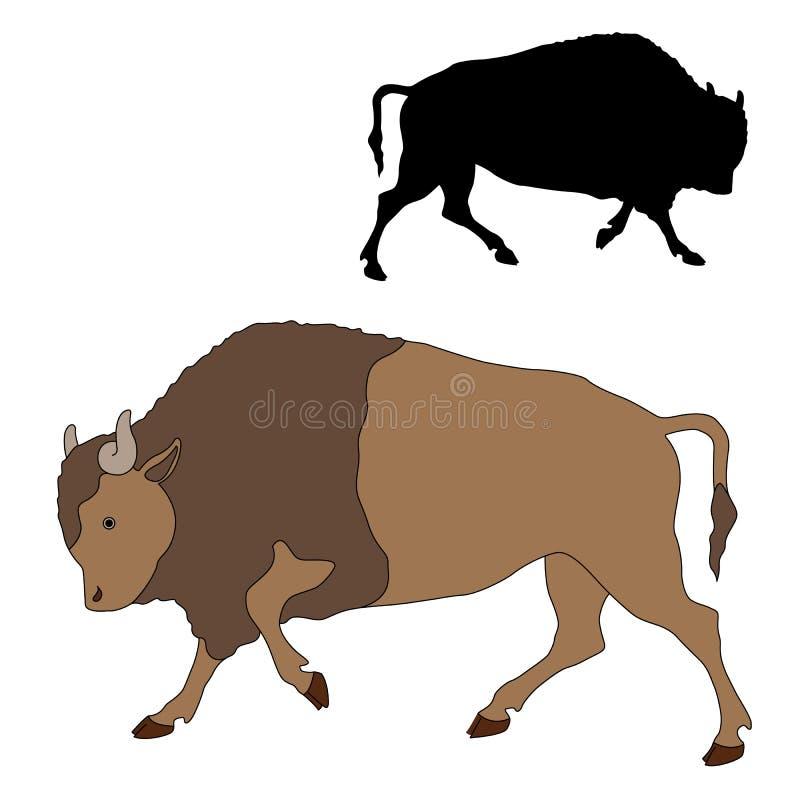 Ensemble noir de silhouette de couleur de bison illustration libre de droits