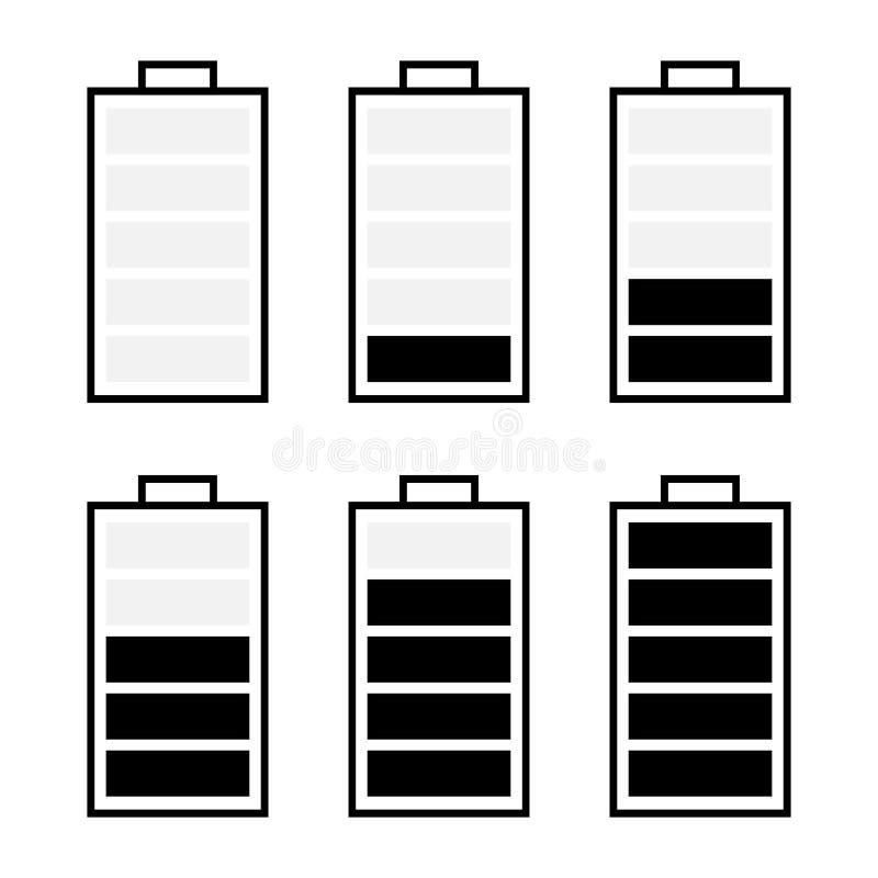 ensemble noir et blanc d'icône de batterie d'isolement sur le blanc illustration stock