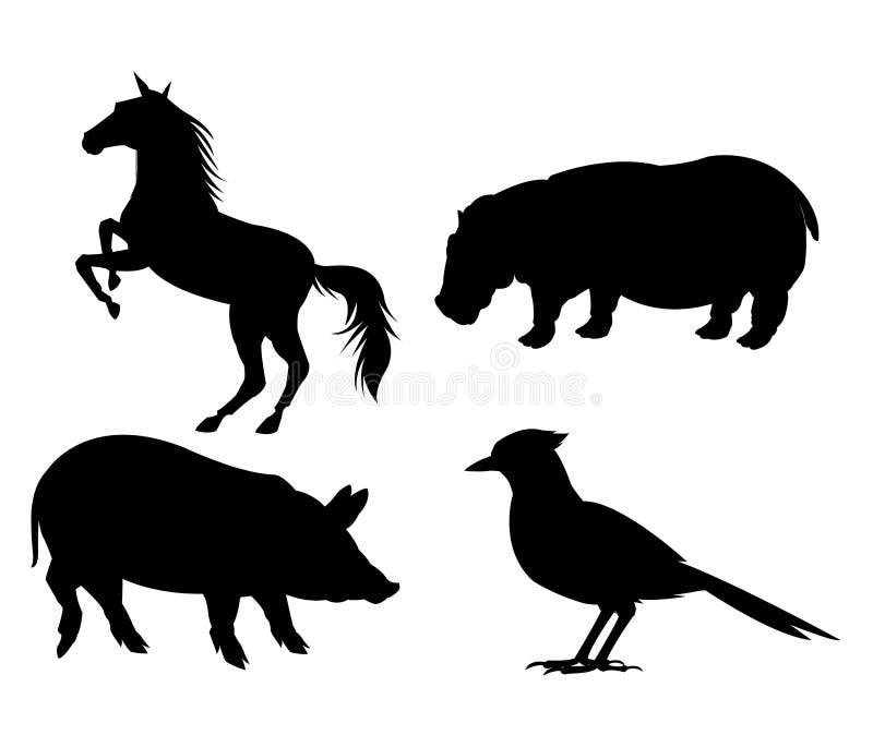 ensemble noir et blanc d 39 ic ne d 39 animaux illustration de. Black Bedroom Furniture Sets. Home Design Ideas