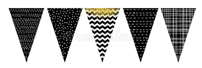 Ensemble noir et blanc de bannière de drapeau Party la décoration Faites-le vous-même illustration de vecteur