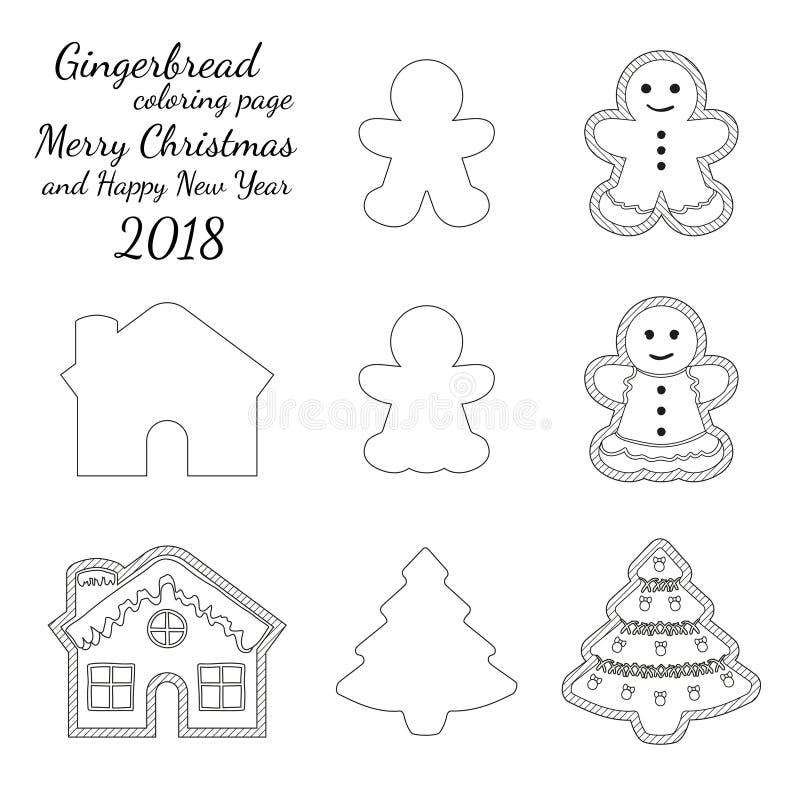 Ensemble noir et blanc de logo d'icône de biscuit de pain de gingembre illustration libre de droits