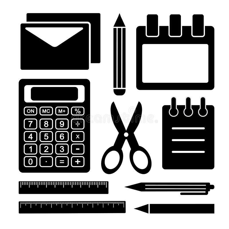 Ensemble noir et blanc de papeterie Fournitures de bureau Vecteur illustration stock
