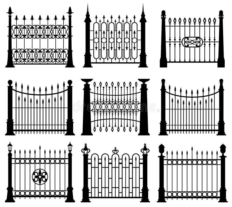 Ensemble noir et blanc de vecteur d'éléments d'architecture de portes et de barrières de fer illustration libre de droits