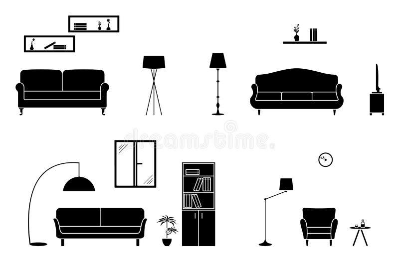 Ensemble noir et blanc intérieur à la maison Pièce avec l'icône de sofa illustration libre de droits