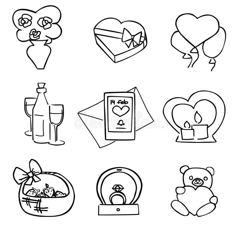 Ensemble noir et blanc mignon de jour de valentines de vecteur illustration libre de droits