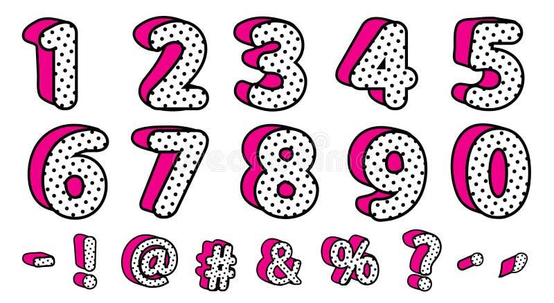 Ensemble noir mignon des points de polka 3D de nombres et de signes Style girly de surprise de poupée du vecteur LOL illustration stock