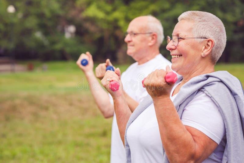 Ensemble nous séance d'entraînement améliorons - la pratique en matière supérieure de sourire de couples avec des haltères photos stock