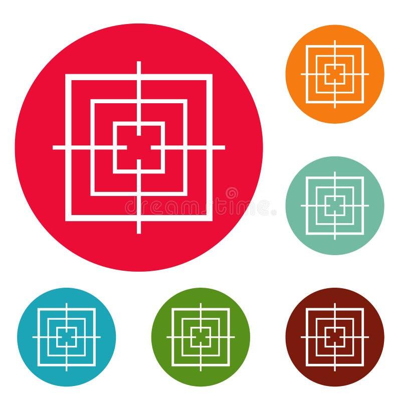 Ensemble objectif carré de cercle d'icônes illustration stock