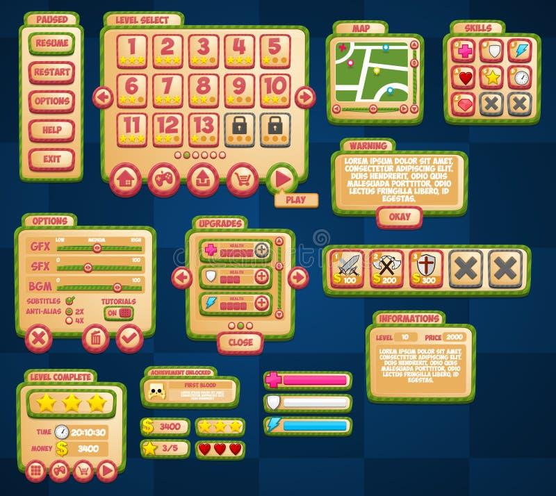 Ensemble occasionnel du jeu UI de rayures illustration stock