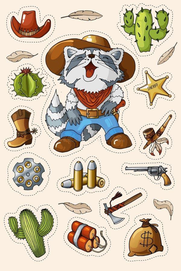 Ensemble occidental sauvage occidental d'autocollants d'art Arme à feu, balles, cactus et beaucoup d'autres articles illustration de vecteur
