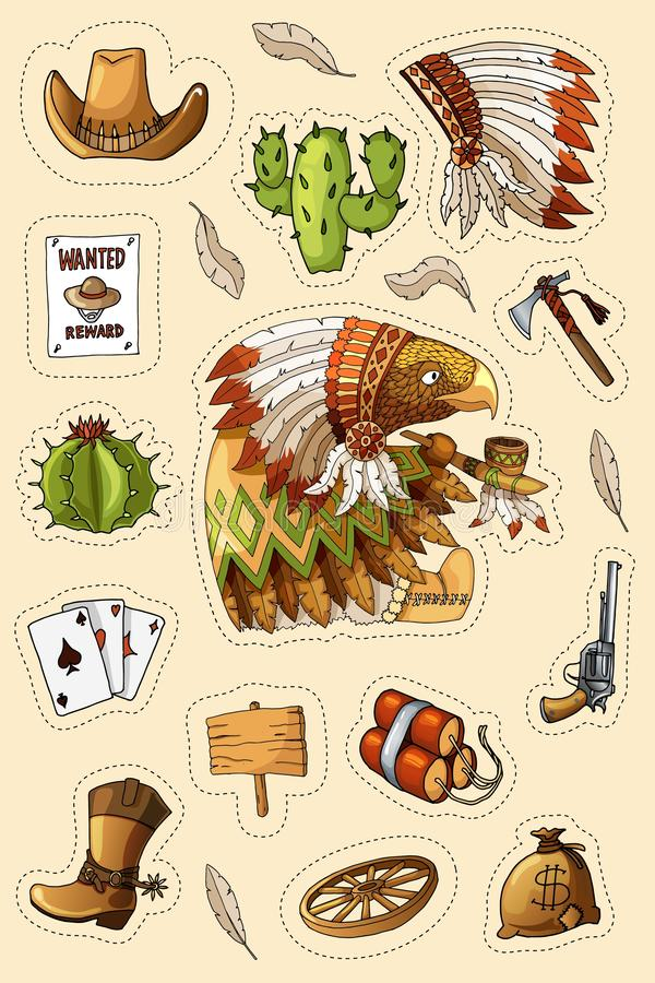 Ensemble occidental sauvage occidental d'autocollants d'art Arme à feu, balles, cactus et beaucoup d'autres articles illustration libre de droits