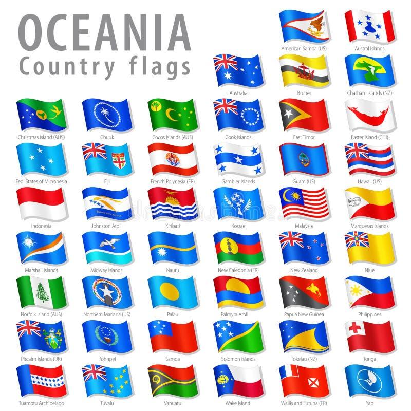 Ensemble Oceanian de drapeau national de vecteur illustration libre de droits